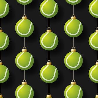 メリークリスマステニスシームレス水平パターン。