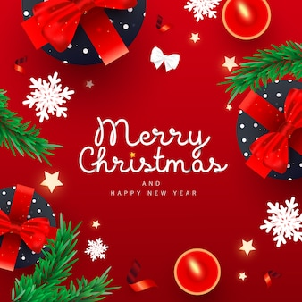 Merry christmas text background with xmas gifts box, festive decorative snow, fir pine and fire
