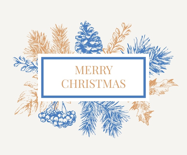 Merry christmas text in blue frame with branches of christmas tree.