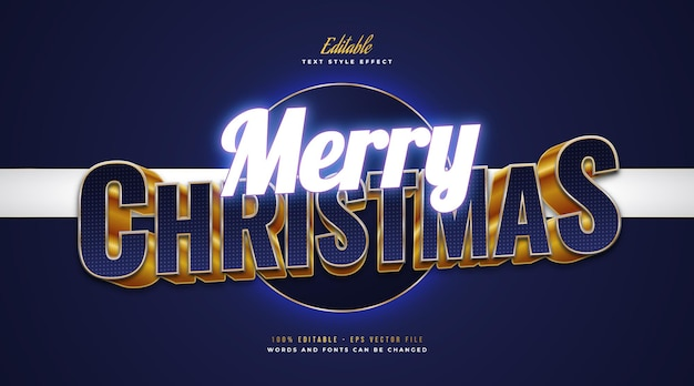 Merry christmas text in blue and gold style with glowing blue neon effect. editable text style effect