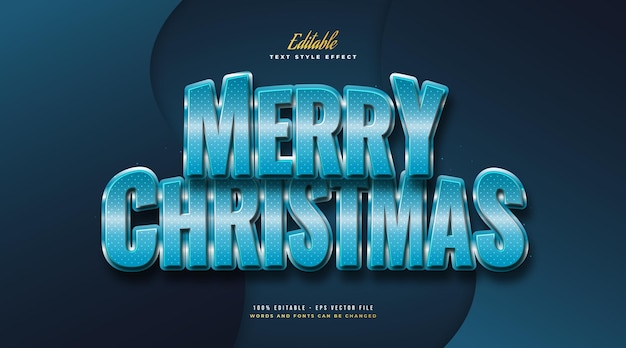 Merry christmas text in blue style with 3d effect. editable text style effect