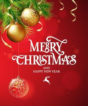 メリークリスマステキスト書道レタリングデザインカードテンプレート。書道の手作りレタリング。