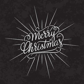 Merry christmas text calligraphic lettering design card template.