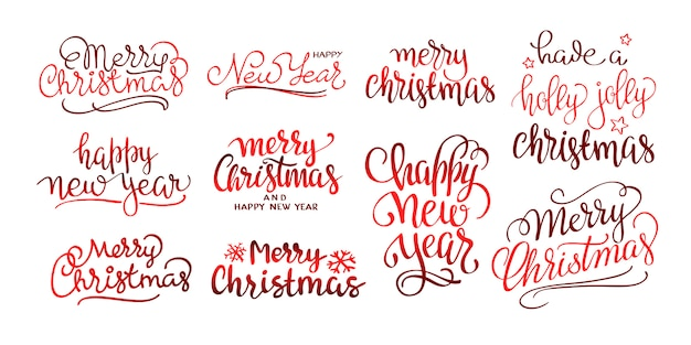 Merry christmas text calligraphic lettering design set.