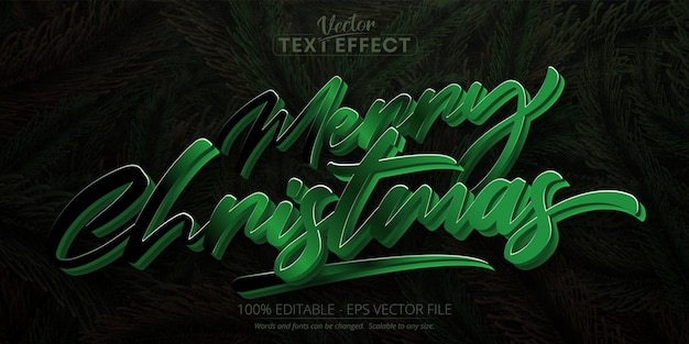 Merry christmas text calligraphic style editable text effect on pine tree leaves background