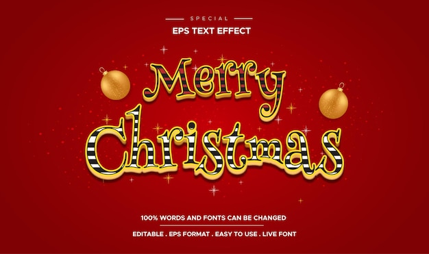 Merry christmas text, candy color style editable text effect