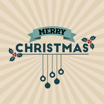 Merry christmas text for card or banner design retro style