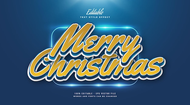 Merry christmas text in cartoon style. editable text style effect
