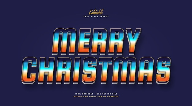 Merry christmas text in colorful gradient style with embossed effect. editable text style effect