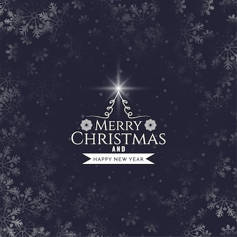 Merry christmas text design snowflakes background