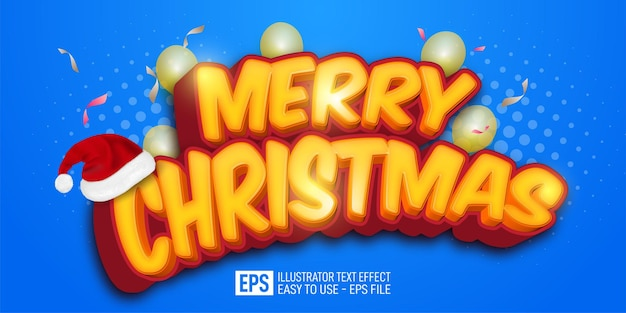 Merry christmas text editable illustrator 3d style effect suitable for christmas banner