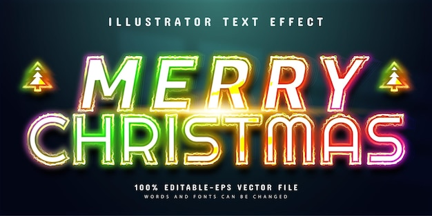 Merry christmas text effect colorful neon