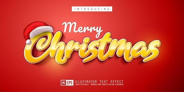Merry christmas text effect editable 3d text style