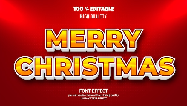 메리 크리스마스 텍스트 효과. 편집 가능한 글꼴