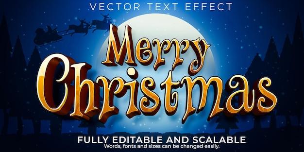 С рождеством христовым текстовый эффект, редактируемый стиль текста санта и новый год