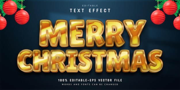 Merry christmas text effect gold style