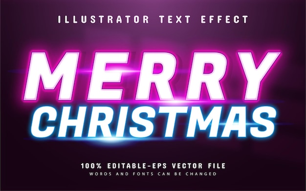 Merry christmas text effect neon style