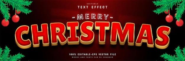 С рождеством христовым текстовый эффект в стиле красного золота