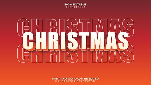 Счастливого рождества текстовый эффект красный оранжевый градиент полный редактируемые векторные