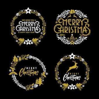 Merry christmas text elegant emblem