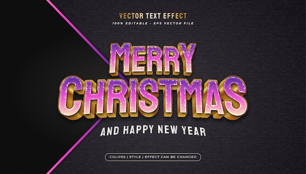 Merry christmas text elegant vibrant text style with embossed effect in purple and gold concept