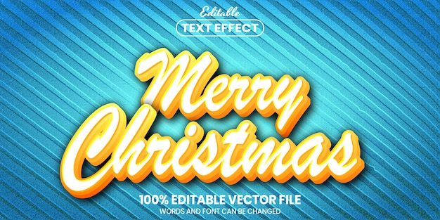 Merry christmas text, font style editable text effect