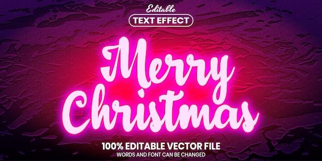 С рождеством христовым текст, редактируемый текстовый эффект стиля шрифта