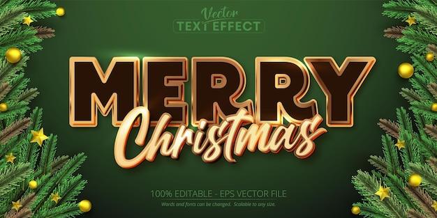 メリークリスマステキストゴールドカラースタイル編集可能なテキスト効果