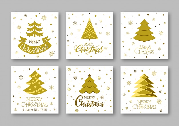 Merry christmas text gold greeting card with christmas tree, lettering winter holiday postcard.