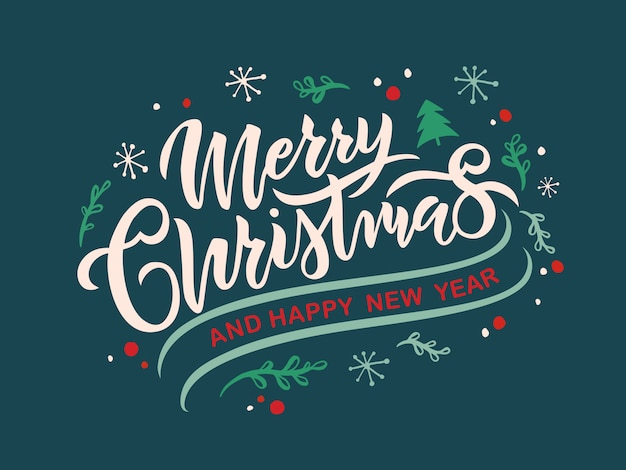 Merry christmas text, greeting card