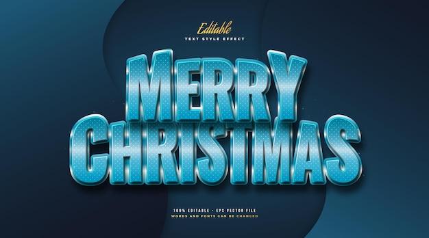 3d 효과와 블루 스타일의 메리 크리스마스 텍스트. 편집 가능한 텍스트 스타일 효과