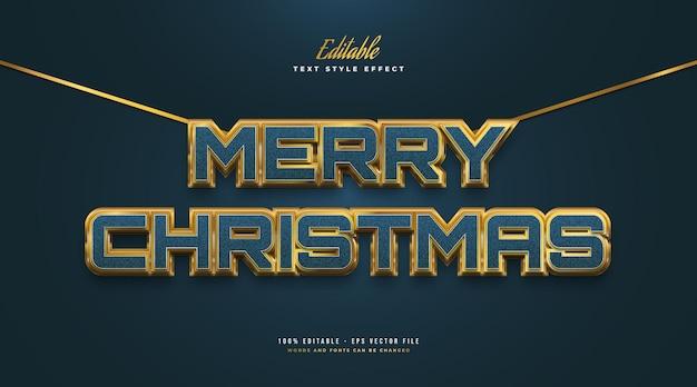 질감과 3d 효과가 있는 고급스러운 파란색과 금색의 메리 크리스마스 텍스트. 편집 가능한 텍스트 스타일 효과