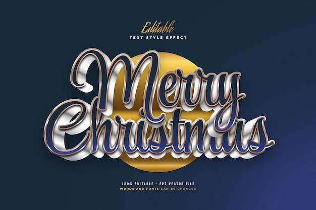 3d 효과와 고급 파란색과 흰색 스타일의 메리 크리스마스 텍스트. 편집 가능한 텍스트 스타일 효과