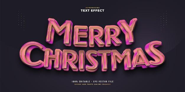3d 효과가 있는 럭셔리 핑크와 골드의 메리 크리스마스 텍스트. 편집 가능한 텍스트 스타일 효과