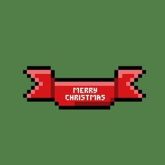С рождеством христовым текст в красной ленте в стиле пиксель-арт