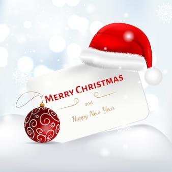 サンタの帽子のメリークリスマスのテキスト