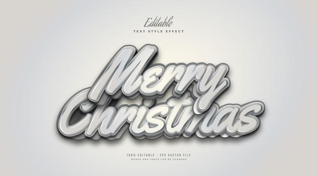 3d 만화 스타일의 흰색과 회색의 메리 크리스마스 텍스트. 편집 가능한 텍스트 스타일 효과