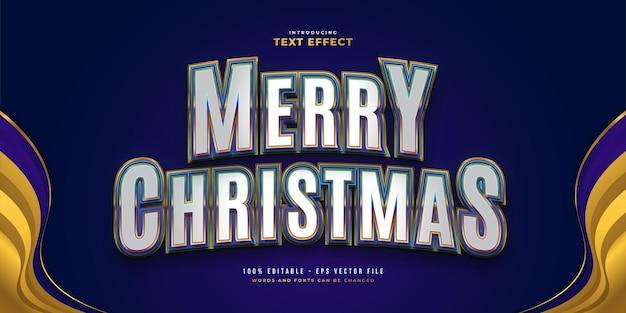 3d 및 곡선 효과가 있는 흰색, 파란색 및 금색 스타일의 메리 크리스마스 텍스트. 편집 가능한 텍스트 스타일 효과