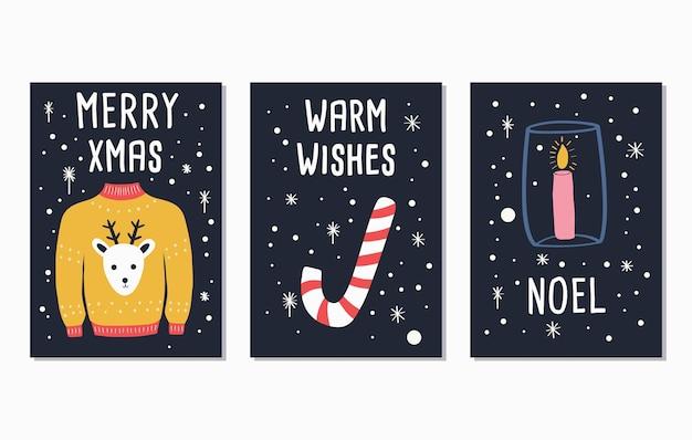 Счастливого рождества текст надписи карты дизайн
