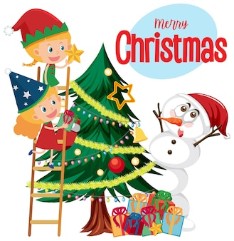 Merry christmas text logo with christmas and decorations