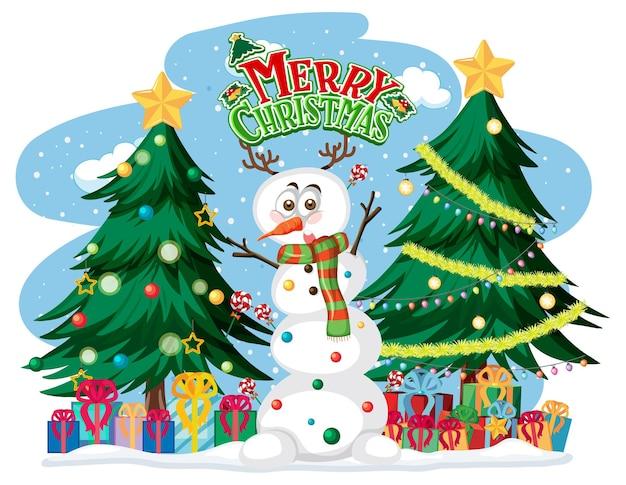 С рождеством христовым текстовый логотип с елкой и снеговиком