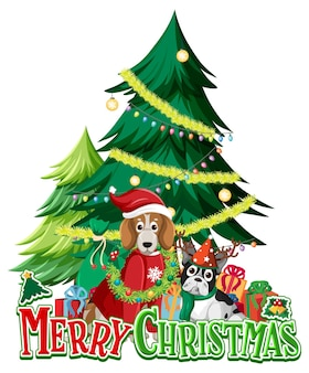 Merry christmas text logo with christmas tree and cute dogs