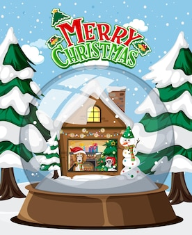 Merry christmas text logo with house in glass dome winter