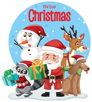 С рождеством христовым текстовый логотип с санта-клаусом и друзьями