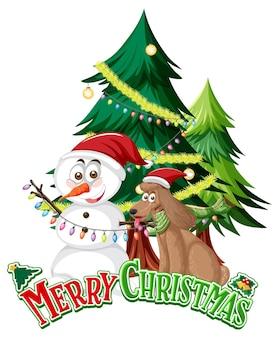 С рождеством христовым текстовый логотип со снеговиком и елкой