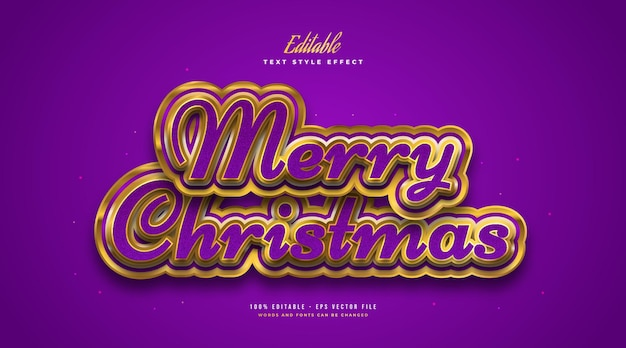 Merry christmas text in luxurious purple and gold and textured effect. editable text style effect