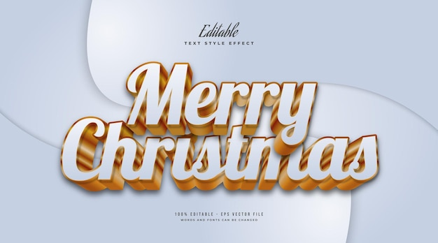 Merry christmas text in luxurious white and gold with 3d embossed effect. editable text style effect