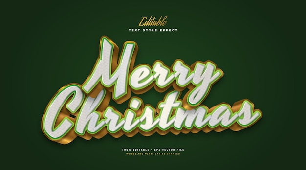 Merry christmas text in luxurious white, green and gold with 3d effect. editable text style effect