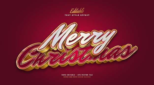 Merry christmas text in luxurious white, red and gold with 3d effect. editable text style effect