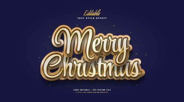 Merry christmas text in luxury white and gold style. editable text style effect